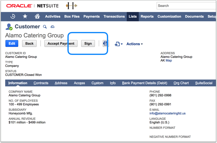 Electronically sign documents right from within NetSuite using SnapSign's embedded Sign button